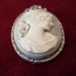 1928 Brand Vintage Cameo Pendant Baby Blue